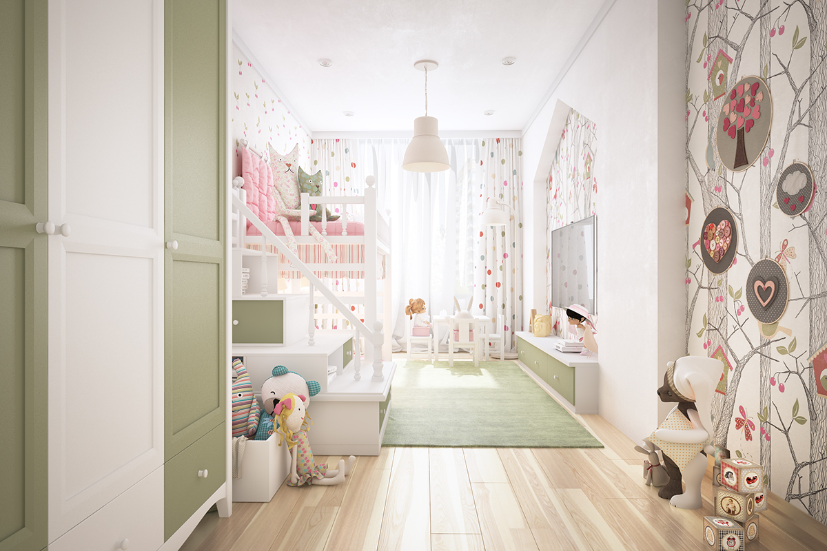 Feminine Kids Room - Two homes with colorful kids rooms included