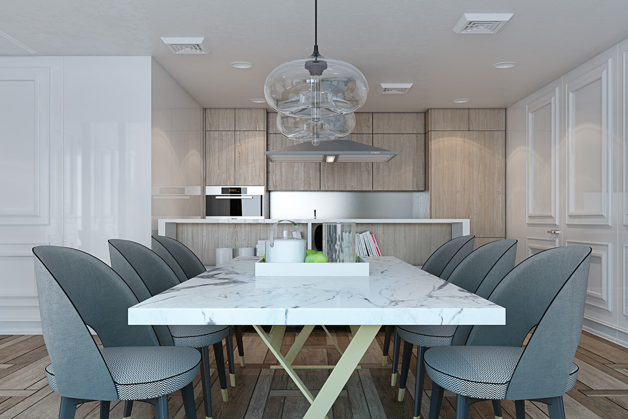 Granite Dining Table - A miami apartment in stormy muted tones