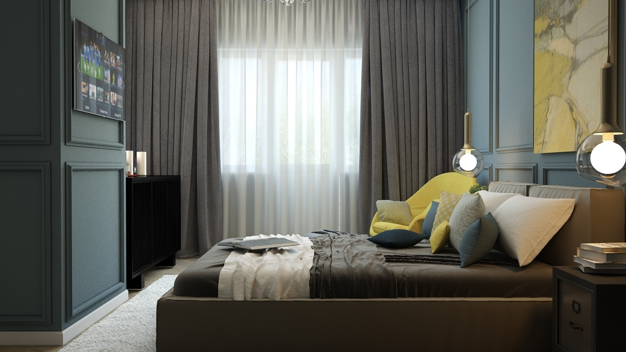 Gray Curtains - 8 creatively designed bedrooms in detail