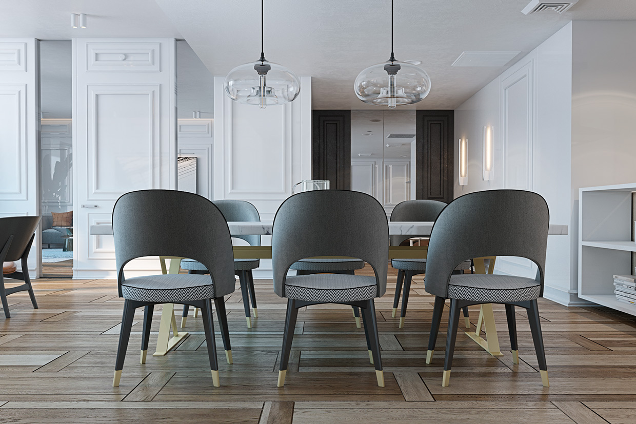 Gray Dining Chairs - A miami apartment in stormy muted tones