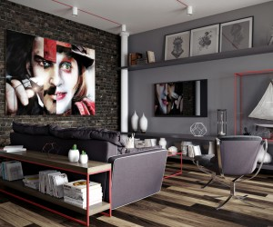 The first space uses cool, dark grays as its main color palette. The gray walls and furnitures meld with the dark exposed brick and hardwood flooring for a look that is decidedly dark but certainly not frightening. Instead, it has a certain stylish bachelor pad appeal with a few industrial notes for good measure.