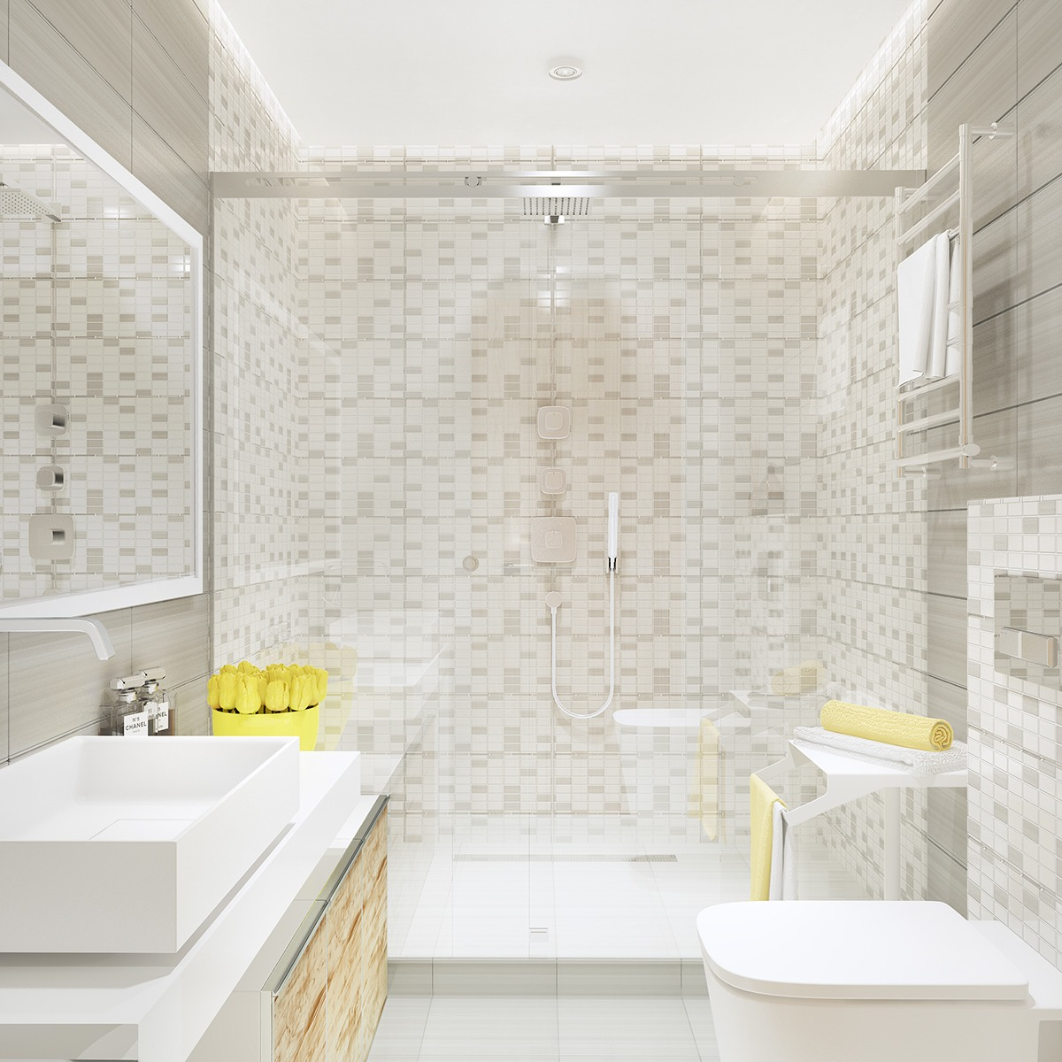 Gray tile bathroom interior design ideas for Bathroom ideas gray tile