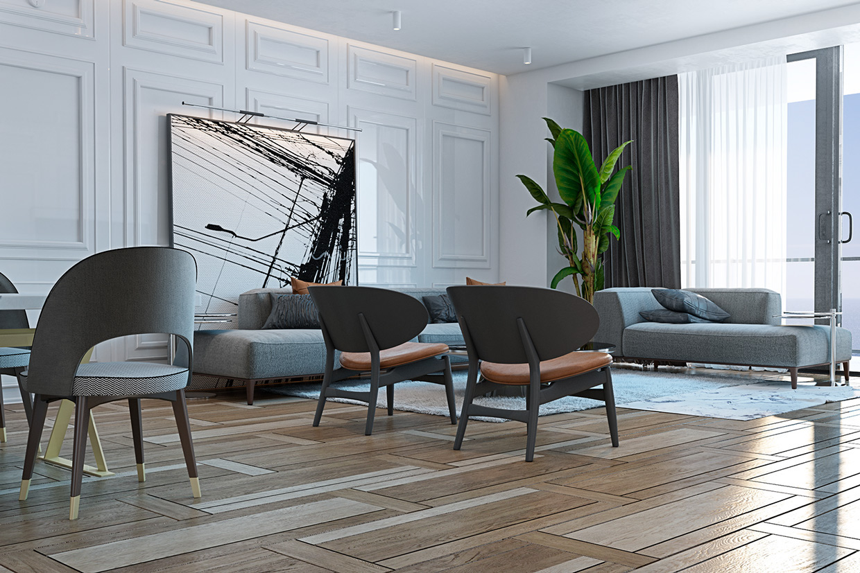 Hardwood Floor Pattern - A miami apartment in stormy muted tones
