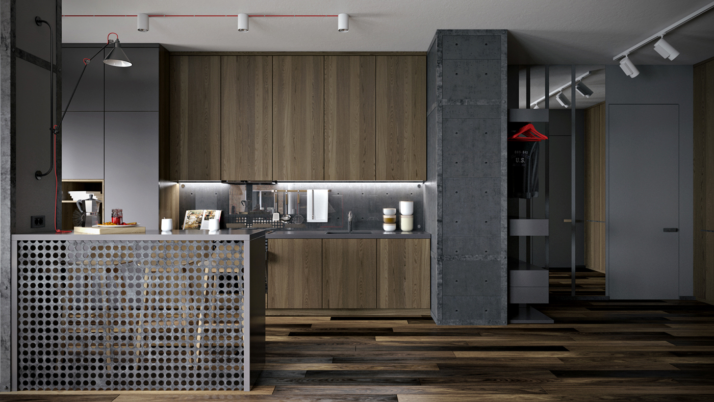 Industrial Apartment Design - Dark neutrals and clean lines unite six stylish homes