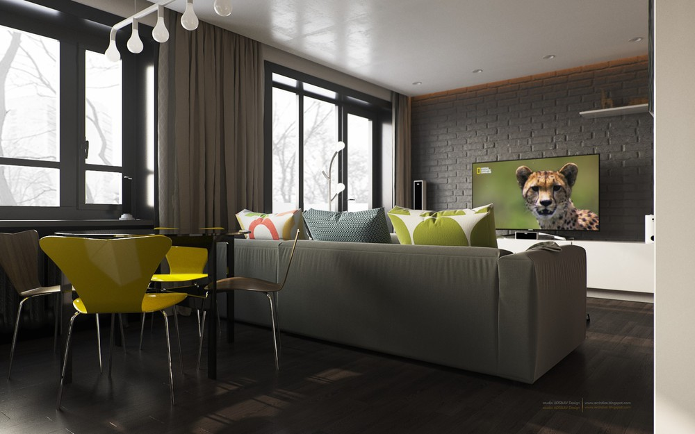 Lacquered Yellow Chairs - Dark neutrals and clean lines unite six stylish homes