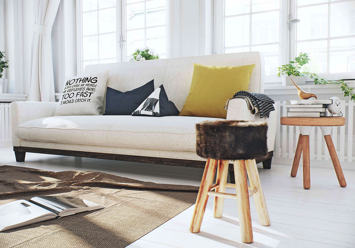Linen Sofa - 3 white apartments in different styles