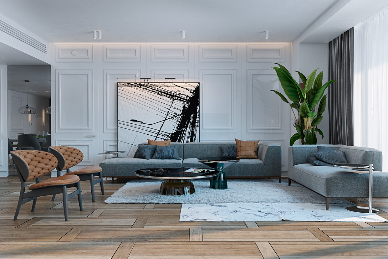 A miami apartment in stormy muted tones for Living area interior