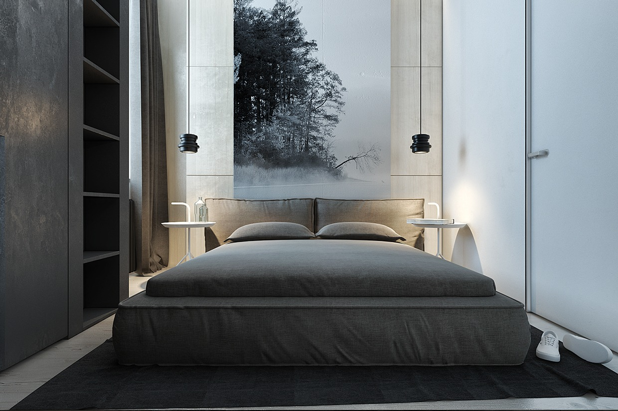 Mod Bedroom - Dark neutrals and clean lines unite six stylish homes