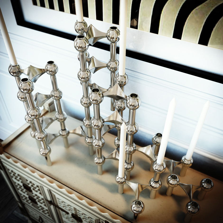 Modern Candlesticks - 3 white apartments in different styles