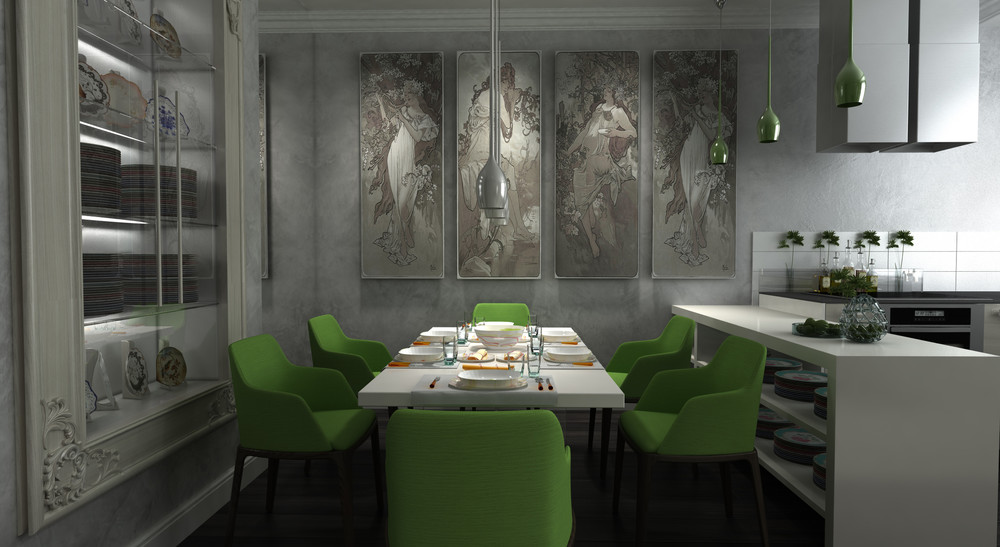 Modern Opulent Dining Room - Dark neutrals and clean lines unite six stylish homes