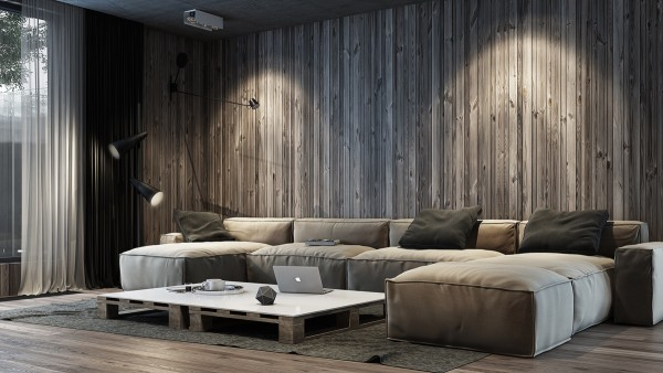 The next space takes some of those same natural elements and turns them into a home that has a bit more edge to it. Vertical wood paneling makes you feel as if you are actually settled into a copse of trees while rich, dark tones in concrete and olive add a certain special decadence.
