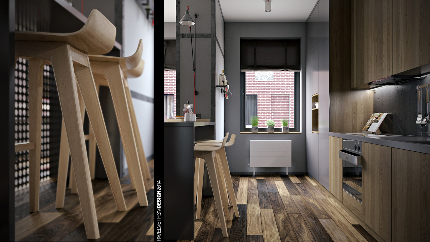 Molded Wood Stools - Dark neutrals and clean lines unite six stylish homes