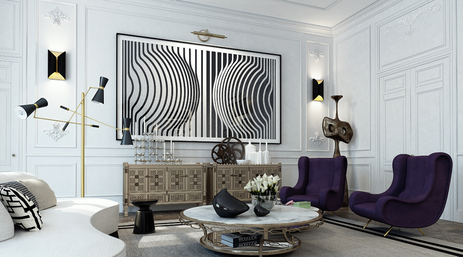 Optical Illusion Art - 3 white apartments in different styles