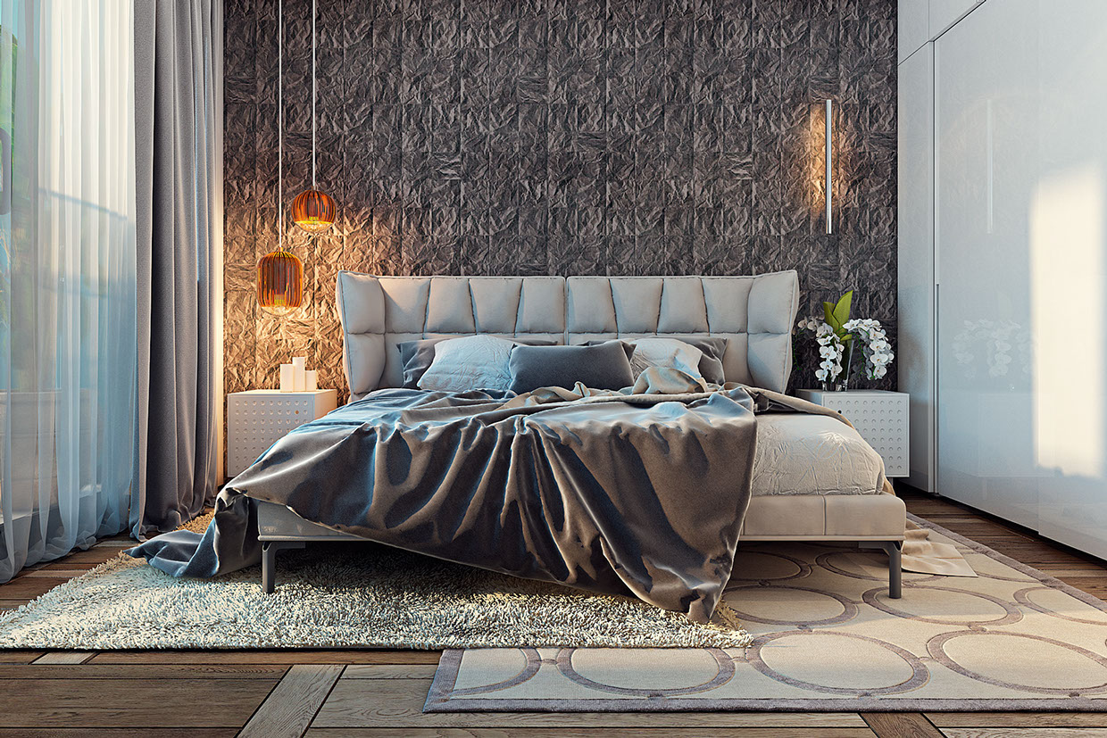 Padded Headboard - A miami apartment in stormy muted tones