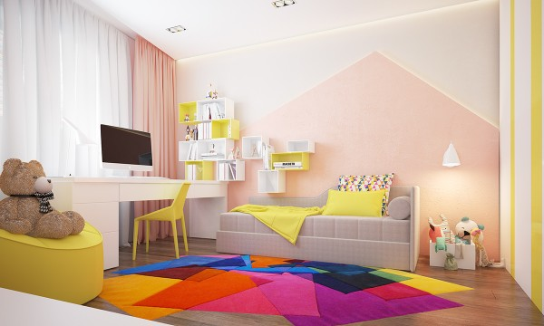 In the kids room, yellow does seep in from the outside but even more colors are brought in and oatmeal gives way to pastel pinks. The ultra cool area rug and geometric wall art give this room a special creative boost that any kid would be luck to latch onto.
