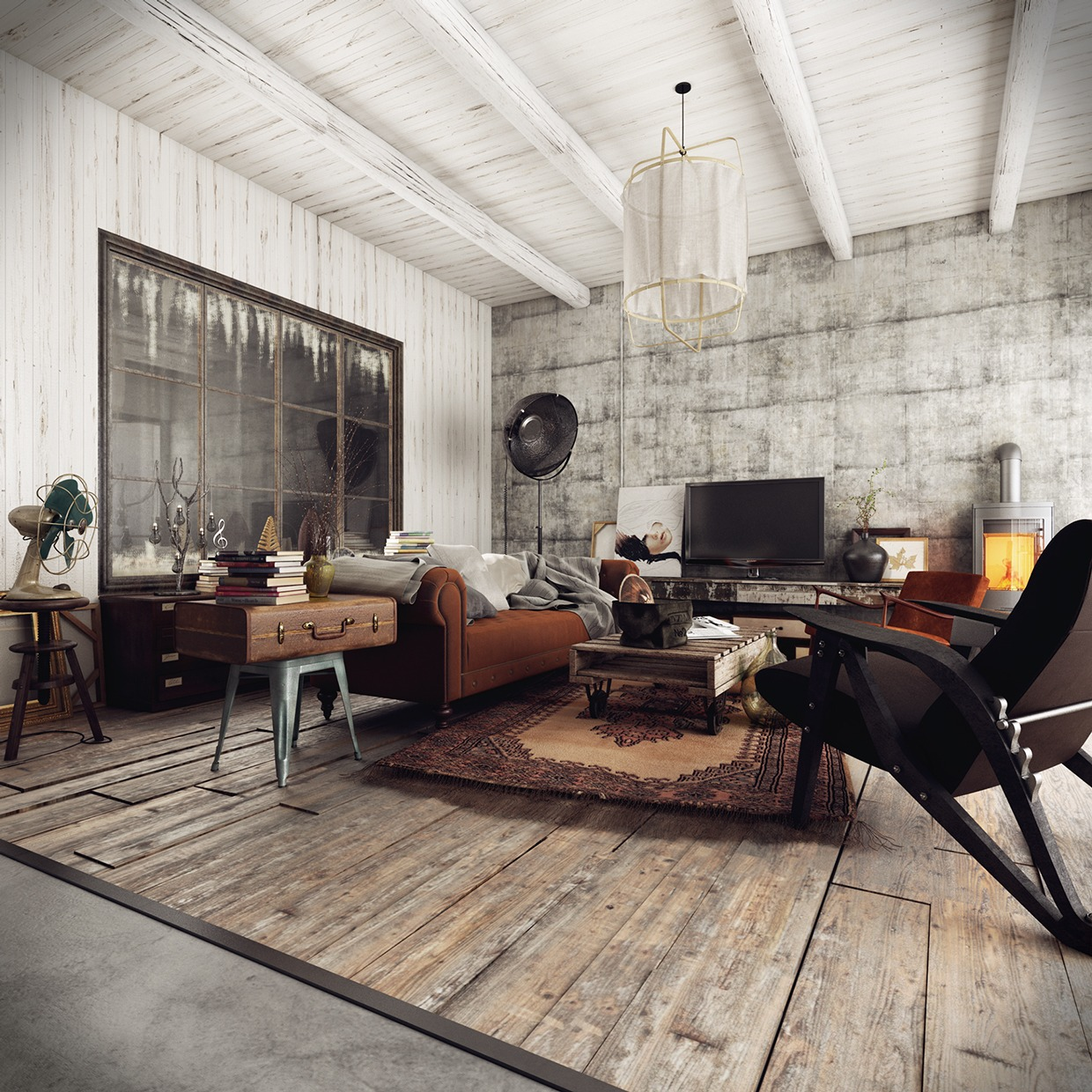 Three homes with a contemporary twist on rustic design for Industrial flooring for homes