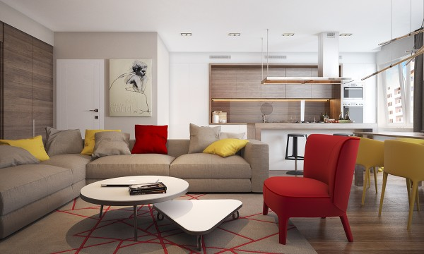 In the main living area of this first home primary colors yellow and red are