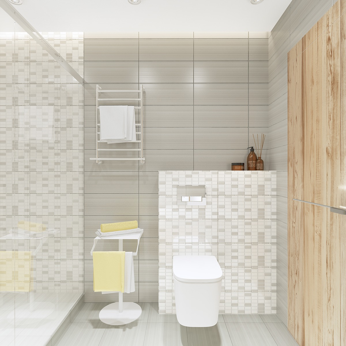 Simple Sleek Bathroom - Similarly simple designs with a bright and cheerful tone