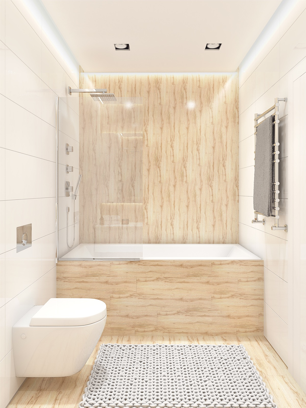 Simple Tiled Bathroom - Similarly simple designs with a bright and cheerful tone