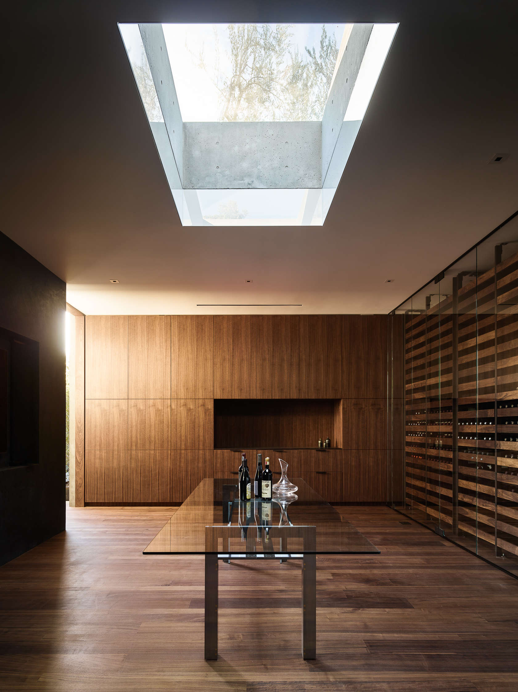 Skylight Design - An upside down beverly hills home with a minimalist exterior