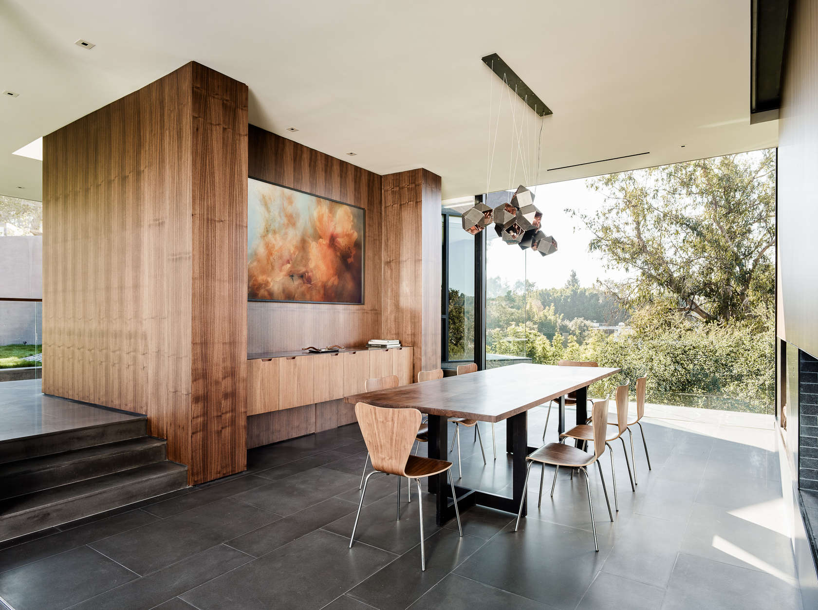 Slick Wood Paneling - An upside down beverly hills home with a minimalist exterior