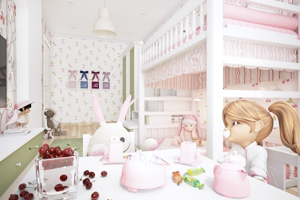 The kids room is where things really get interesting with a tea party-ready space for the girliest of girls including everything from pink ruffled bedspreads to too cute cherry pairs on the wallpaper.