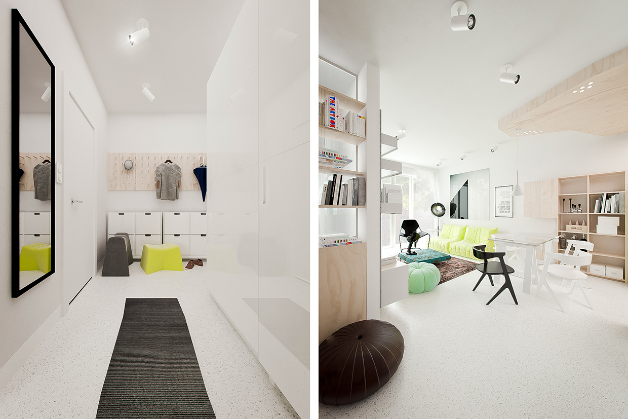 White Black And Yellow - 3 white apartments in different styles