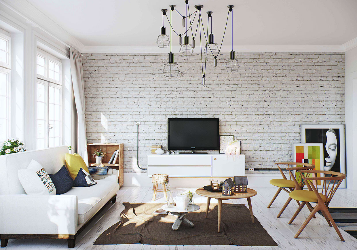 White brick wall interior design ideas for Salon scandinave gris