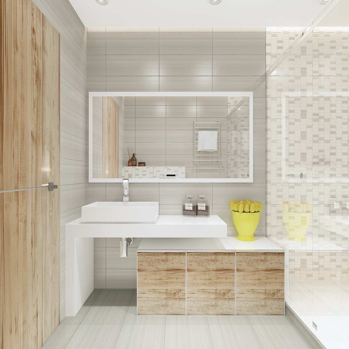 Wood Bathroom Design - Similarly simple designs with a bright and cheerful tone