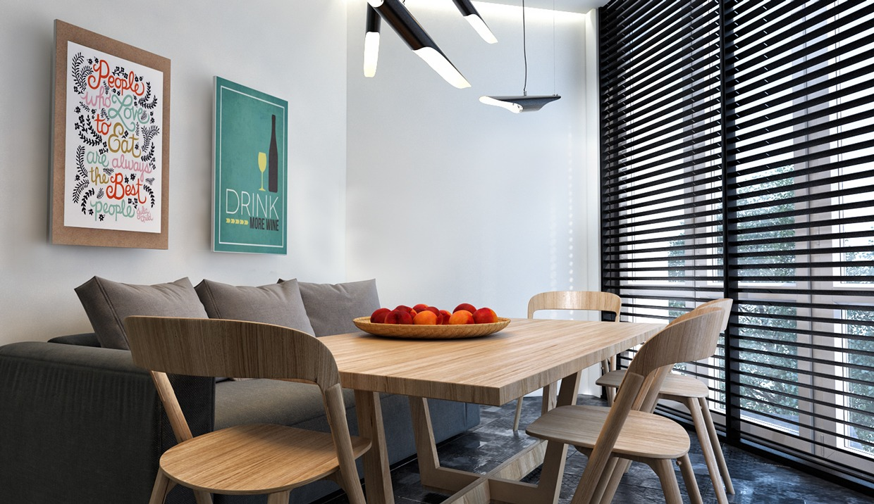Wood Dining Table - Dark neutrals and clean lines unite six stylish homes