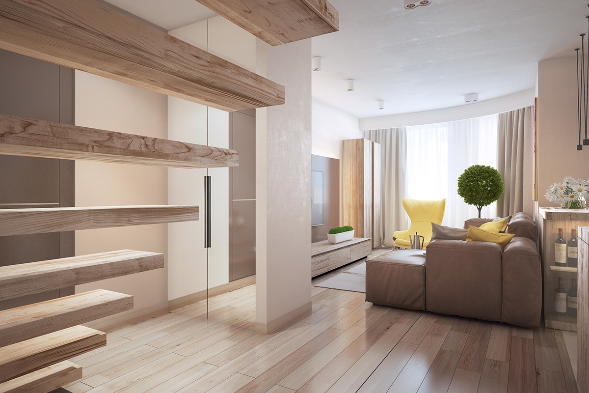 Wood Staircase - Similarly simple designs with a bright and cheerful tone