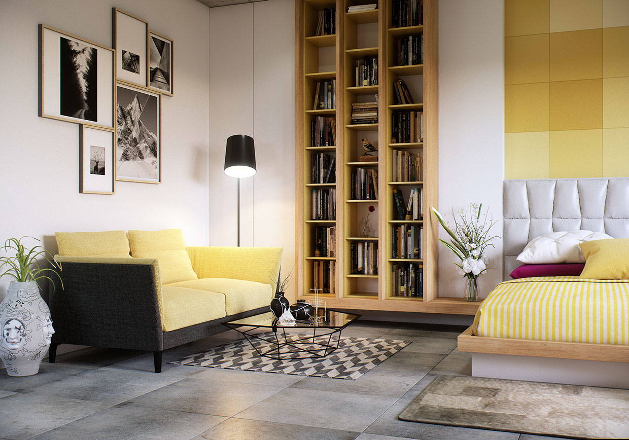 Yellow Loveseat - 8 creatively designed bedrooms in detail