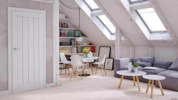 In the second home, just one side of the apartment has a deeply slanted ceiling as well as skylights. Again, white is chosen for the ceiling, including a light and purposefully imperfect whitewash around the frame of the skylights. The slanted ceiling here also allows the open room to be easily divided with a sofa nestling underneath the skylights and shelving filling the space along one wall. The lovely modern kitchen and dining area have a standard, flat ceiling.