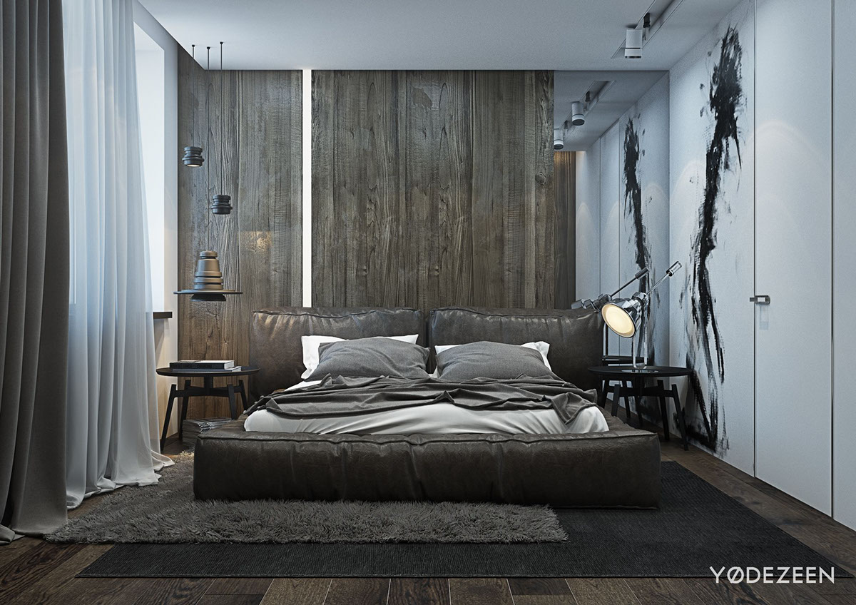 A dark and calming bachelor bad with natural wood and concrete for Bedroom bed designs images