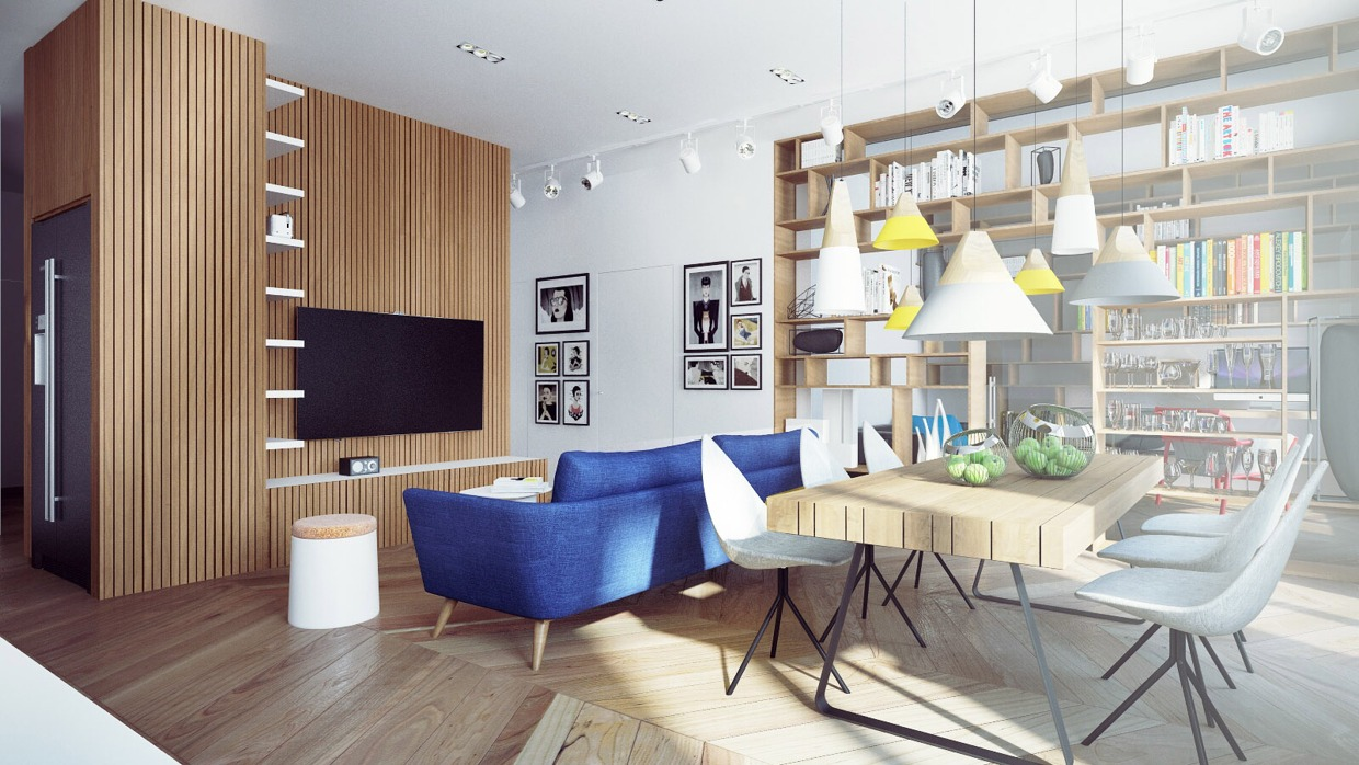 Blue Sofa - Chic studio apartments with artsy accents