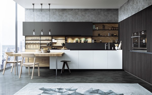 Even a penthouse apartment needs a slick kitchen and this butcher block breakfast bar is the perfect option.