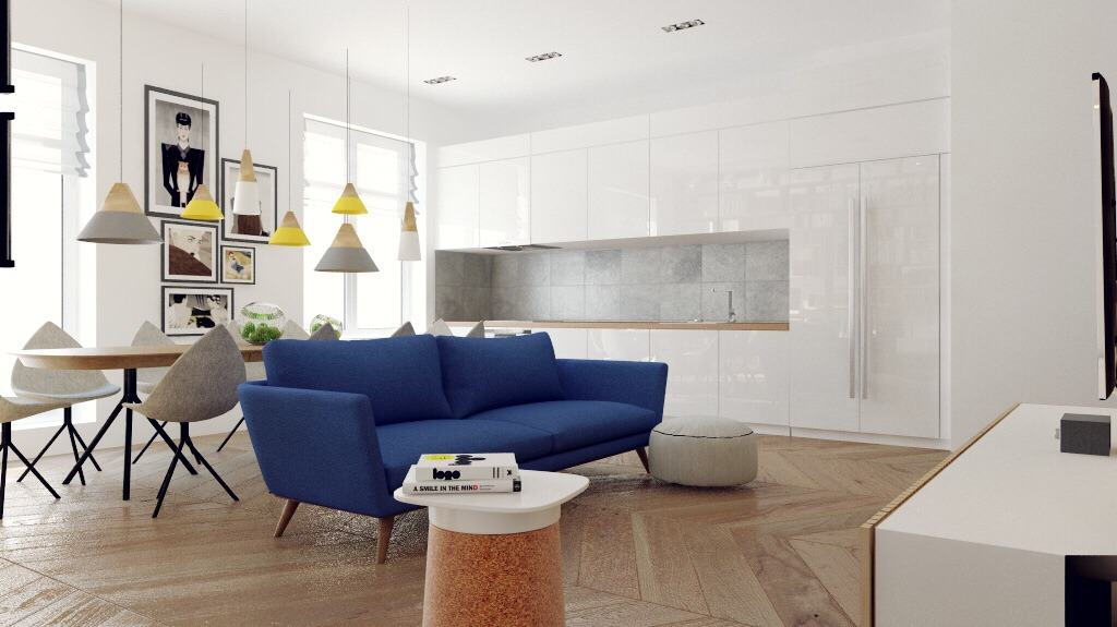 Cerulean Sofa - Chic studio apartments with artsy accents