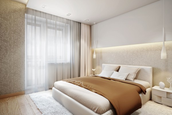 The bedrooms stick largely to the same wood and neutral color scheme, keeping any accent colors tending towards pastels. The master bedroom stays securely in the neutral zone with creamy white linens and a warm caramel duvet against bright white walls.