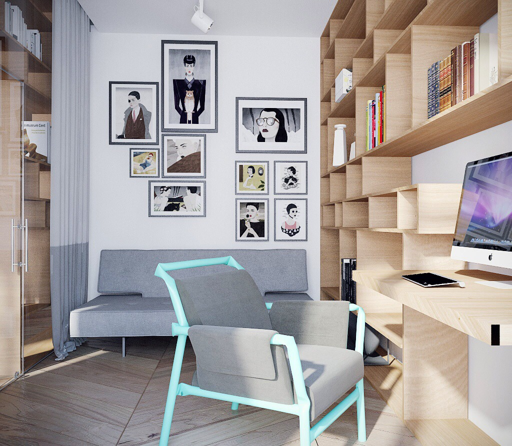 Custom Shelving - Chic studio apartments with artsy accents