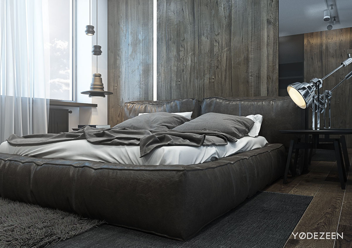 A dark and calming bachelor bad with natural wood and concrete Modern mens bedroom
