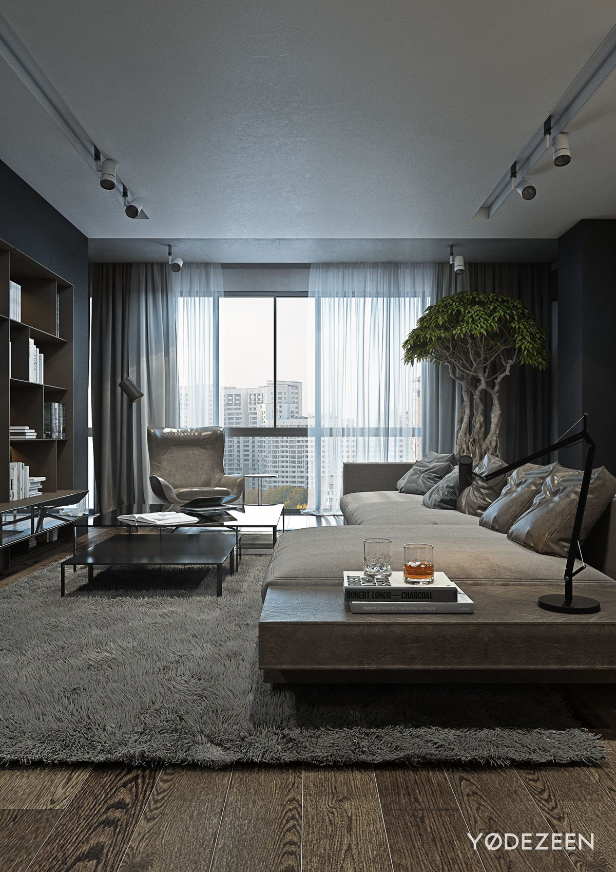 A dark and calming bachelor bad with natural wood and concrete - Home designs interior ...