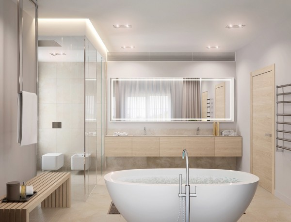A gorgeous, deep soaking tub and lovely natural wood paneling is perfectly simple.
