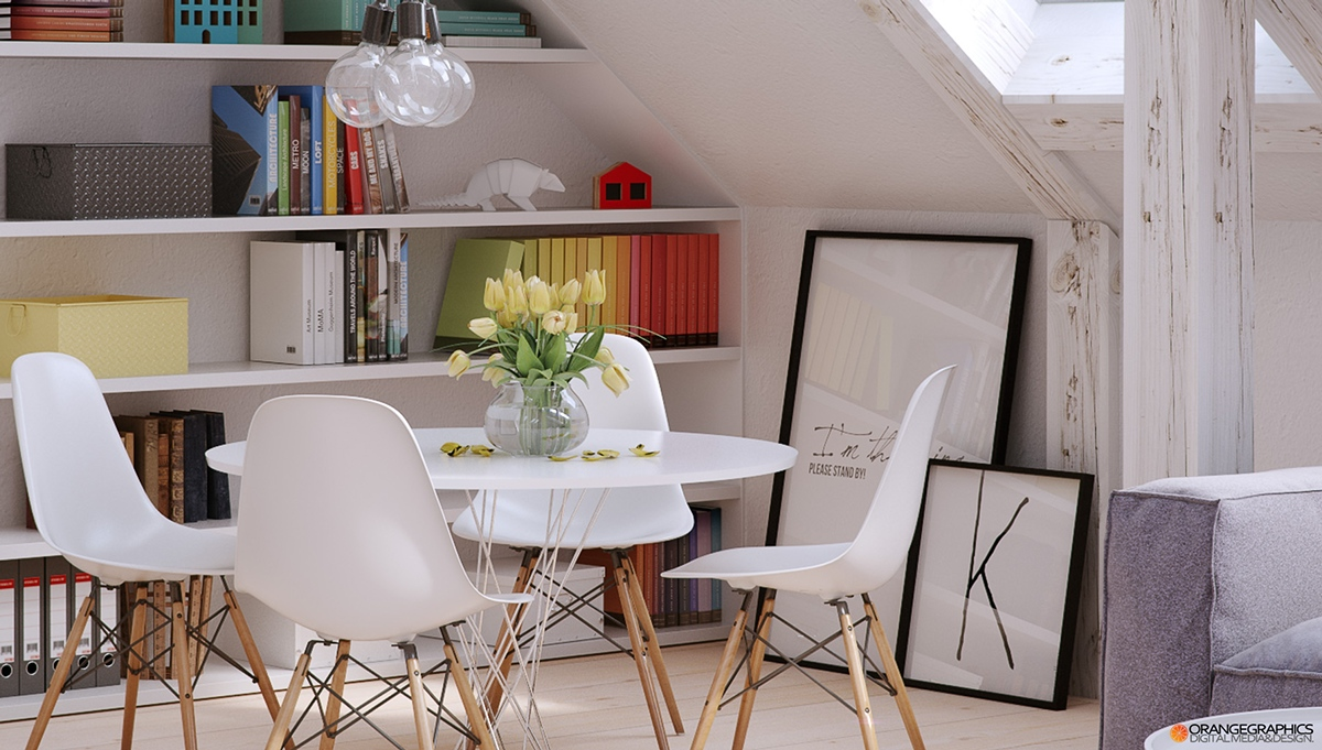 Eames Dining Chairs - 4 stylish homes with slanted ceilings