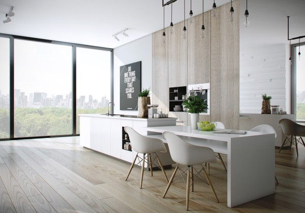 When a dining table is attached to a kitchen countertop, two rooms can take up the space of one.