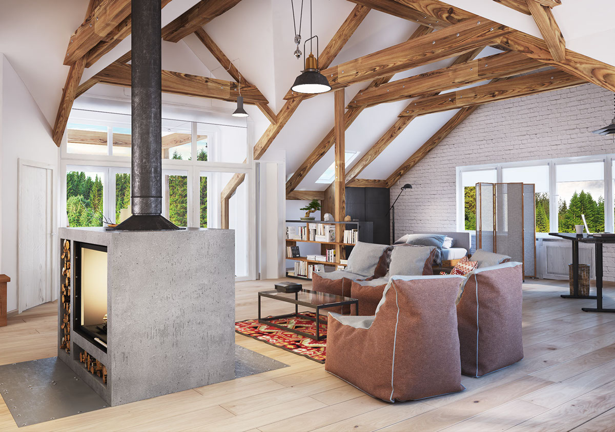 Exposed Ceiling Beams - 4 stylish homes with slanted ceilings
