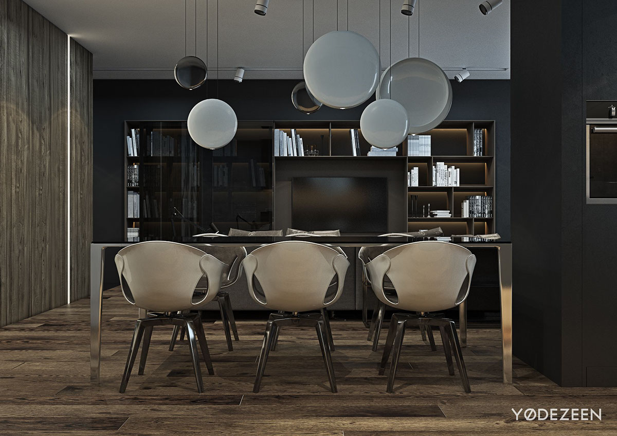 A dark and calming bachelor bad with natural wood and concrete for Dining room globe lighting