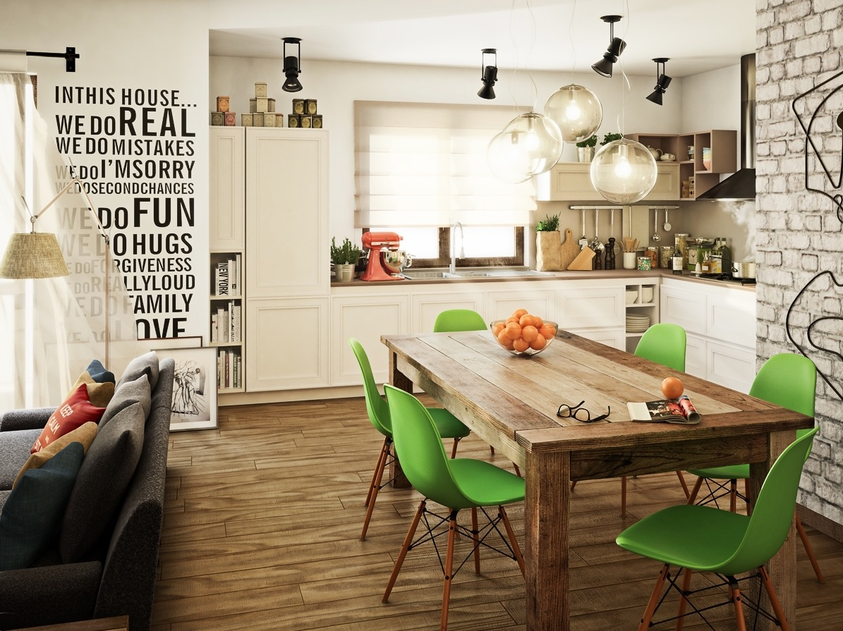 Green Eames Dining Chairs - Take a bite out of 24 modern dining rooms