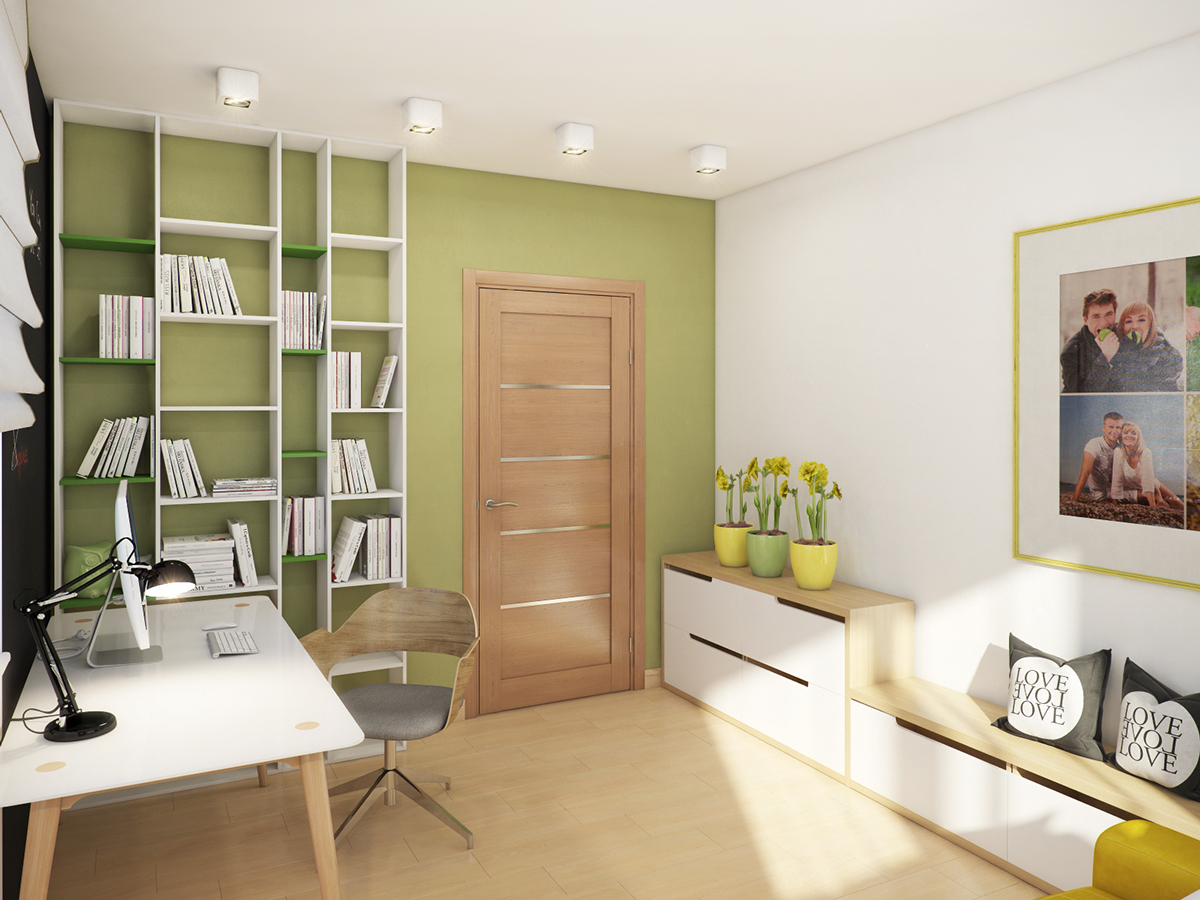 Home Office Design Ideas - A cozy apartment in kyiv with soft citrus accents