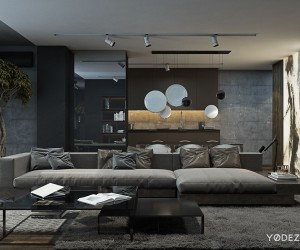 The main living area is fairly spacious with a huge, comfortable sofa (from Minotti) that dominates a large portion of the area. The grey color palette extends to many of the pieces in the space, including an armchair (also from Minotti) and a plush area rug. When a man's hair start to grey it gives him a distinguished air and the same clearly holds true in this home. The greys and neutral tones are distinguished, sophisticated and indeed quite calming.