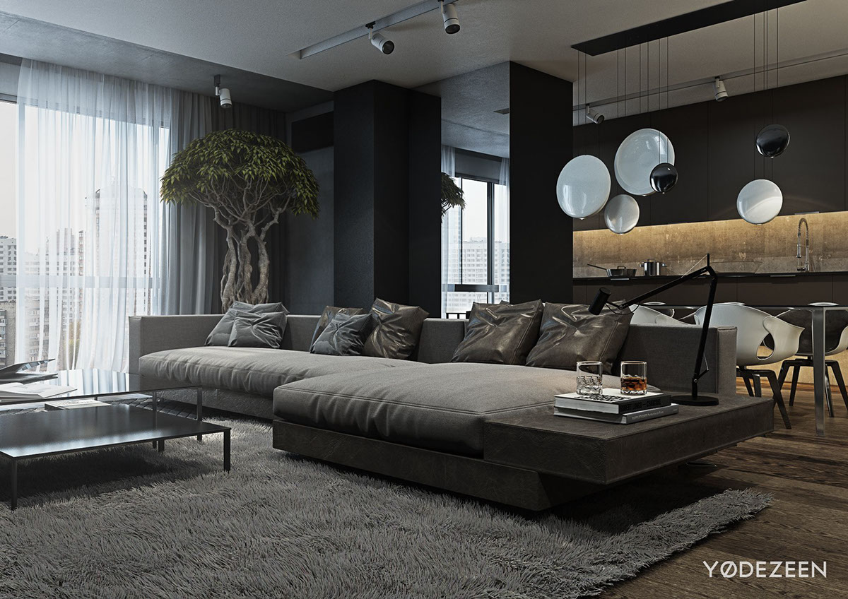 A dark and calming bachelor bad with natural wood and concrete for Modern bachelor pad ideas